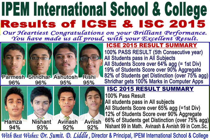 IPEM International School Result of ICSE